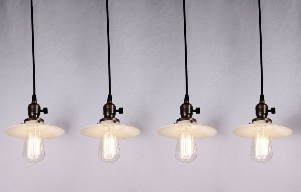 Stunning Popular Milk Glass Light Fixtures Inside Four Matching Antique Industrial Pendant Lights With Milk Glass (Image 22 of 25)