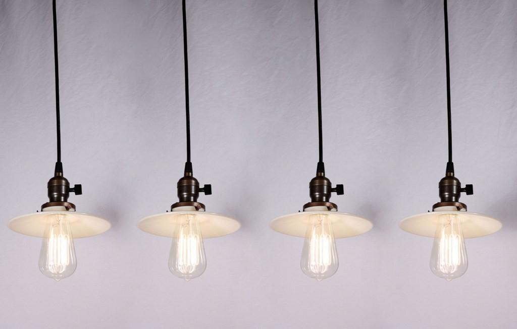 Stunning Popular Milk Glass Light Fixtures Inside Four Matching Antique Industrial Pendant Lights With Milk Glass (View 8 of 25)
