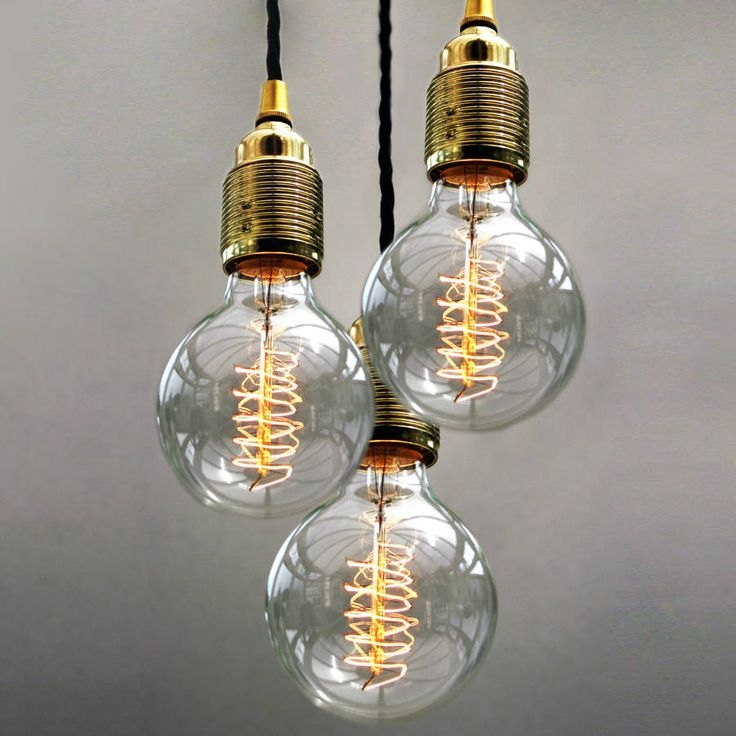 Stunning Popular Three Light Bare Bulb Pendants Intended For 25 Best Light Globe Images On Pinterest (Image 20 of 25)