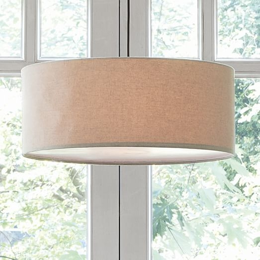 Stunning Popular West Elm Drum Pendants Regarding Short Drum Pendant Natural Linen West Elm (Image 21 of 25)