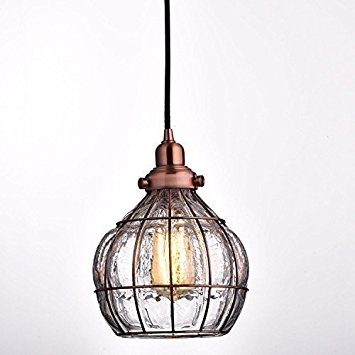Stunning Popular Wire And Glass Pendant Lights Throughout Yobo Lighting Vintage Cracked Glass Rustic Wire Ceiling Pendant (View 7 of 25)
