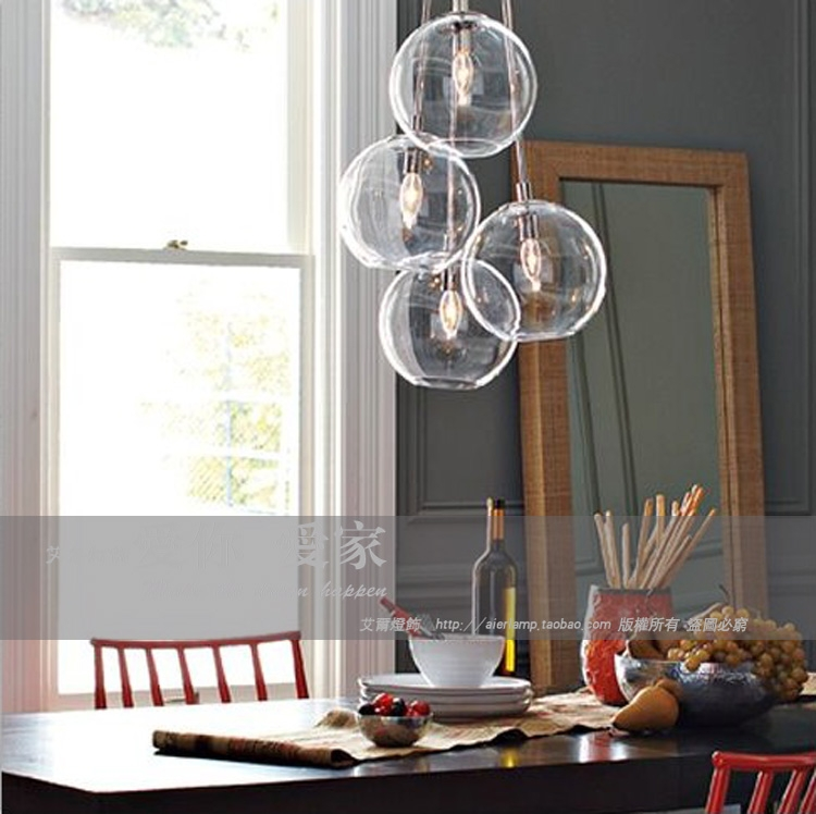 Stunning Preferred Cluster Glass Pendant Light Fixtures Intended For American Cluster Glass Pendant Transparent Round Ball Glass (Image 21 of 25)