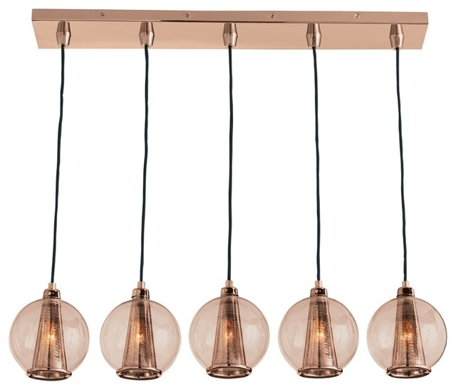 Stunning Premium Caviar Pendant Lights With Regard To Arteriors Dk89918 Caviar Fixed Linear Rose Gold Rose Pendant (Image 21 of 25)