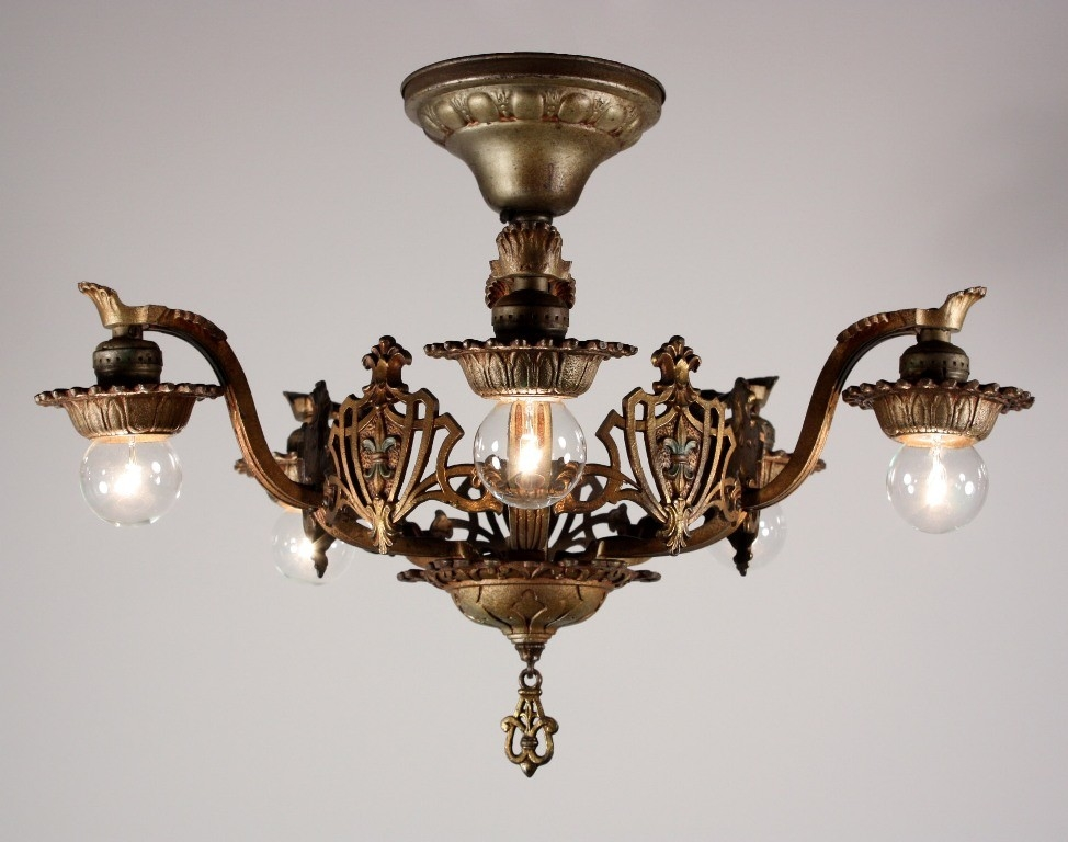Stunning Premium Fleur De Lis Light Fixtures In Superb Antique Semi Flush Five Light Tudor Chandelier With Fleur (Image 20 of 25)