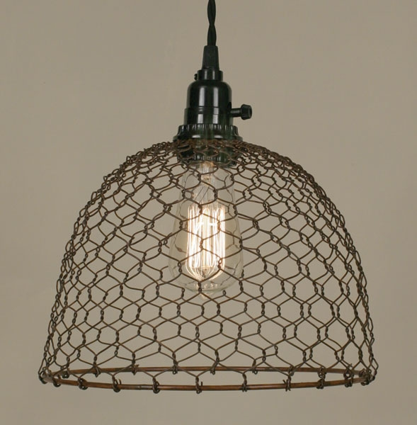 Stunning Series Of Chicken Wire Pendant Lights With Regard To Primitive Rust Chicken Wire Rustic Swag Lamp Lamp Shade Pro (Image 25 of 25)