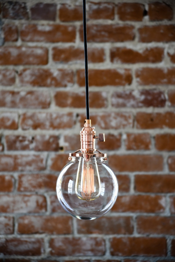 Stunning Series Of Wire And Glass Pendant Lights Regarding Pendant Lighting Copper 6 Clear Glass Globe Cloth Wire Plug (Image 22 of 25)