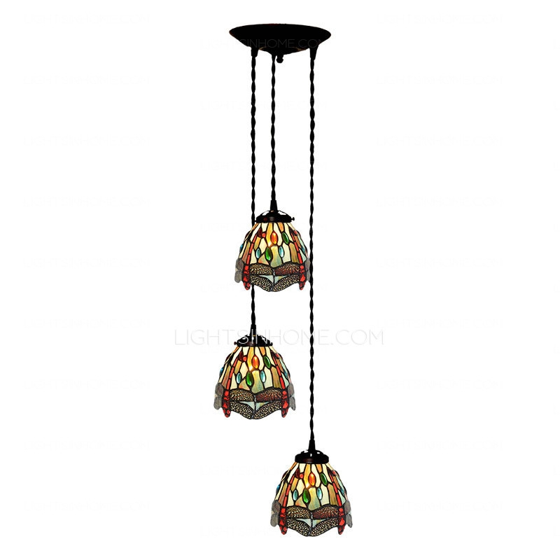 Stunning Variety Of Stained Glass Pendant Light Patterns With Dragonfly Pattern Stained Glass Tiffany Pendant Lights Kitchen (Image 25 of 25)