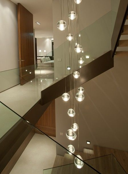 Stunning Variety Of Stairwell Pendant Lights Throughout Modern Stairwell Led Chandelier Lighting Large Bubble Crystal Ball (Image 23 of 25)