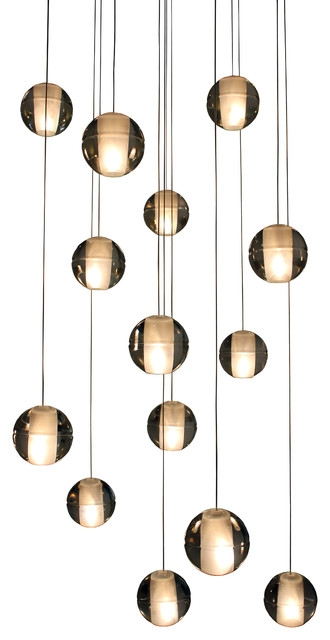 Stunning Wellknown Ball Pendant Lighting Pertaining To Orion 14 Light Floating Glass Globe Led Chandelier Contemporary (Image 23 of 25)