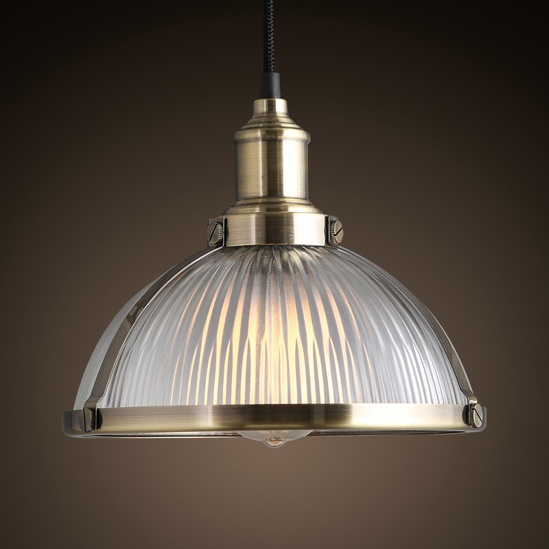 Stunning Wellliked Glass Pendant Ceiling Lights Intended For Industrial Prismatic Ribbed Glass Round Dome Pendant Light One (Image 25 of 25)