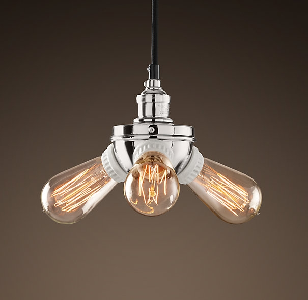Stunning Widely Used Bare Bulb Light Fixtures Regarding Bare Bulb Filament Triple Pendant Polished Nickel Utility (Image 25 of 25)