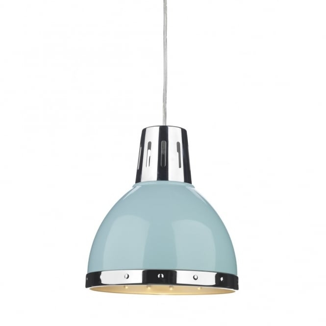 Stunning Widely Used Pale Blue Pendant Lights For Retro Style Ceiling Pendant Light Pale Blue With Chrome Detailing (View 9 of 25)