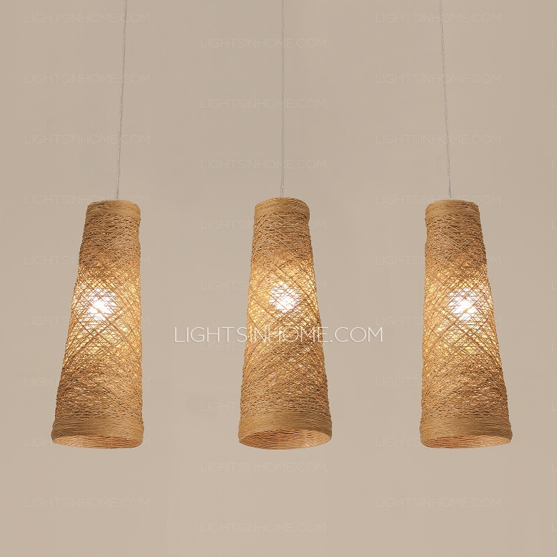 Stunning Widely Used Rattan Pendant Light Fixtures Inside Vintage Floral Pattern Fabric Shade Multi Pendant Light Fixture (Image 23 of 25)