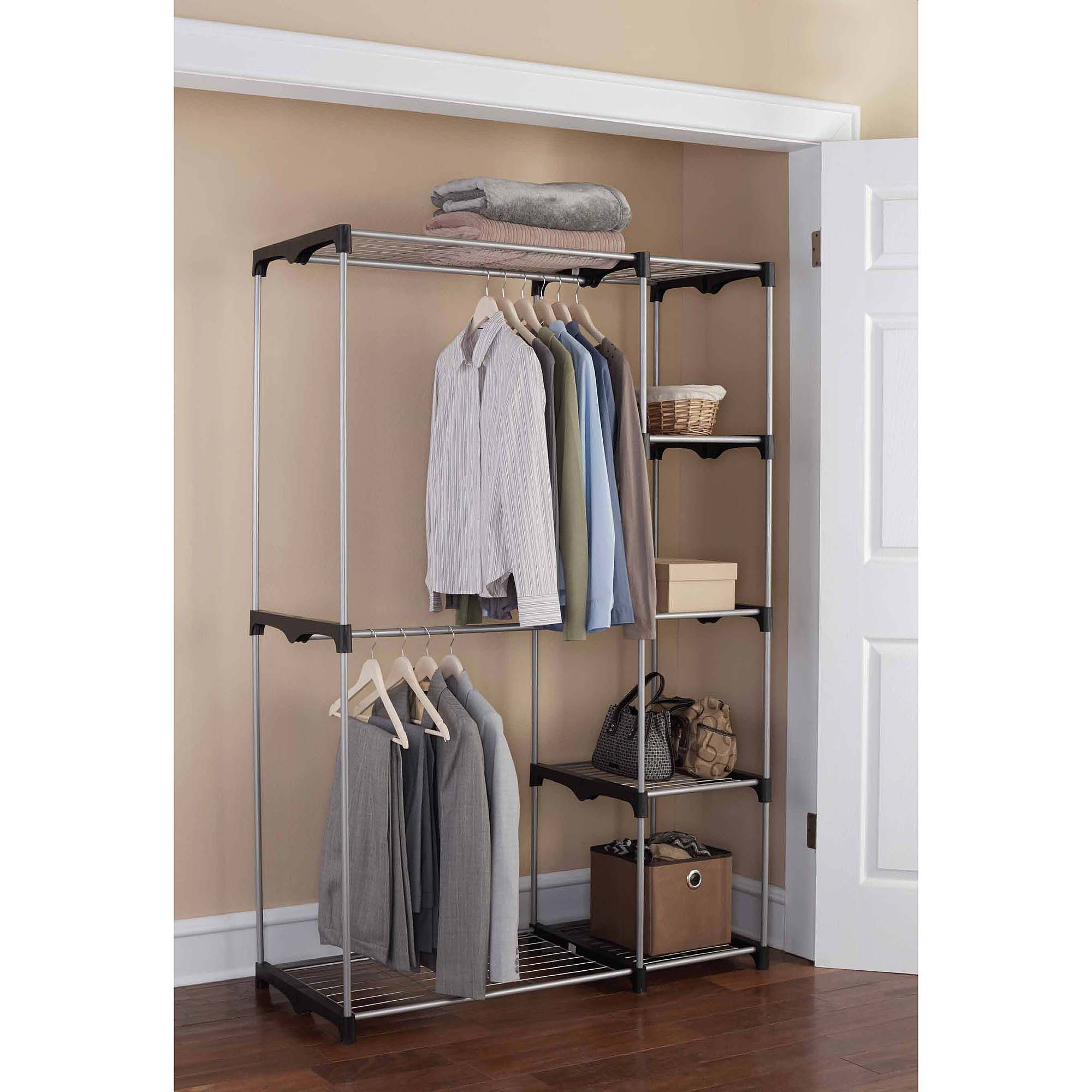 Styles Walmart Closet Organizers For Your Bedroom Space Saving For Hanging Wardrobe Shelves (Image 20 of 25)