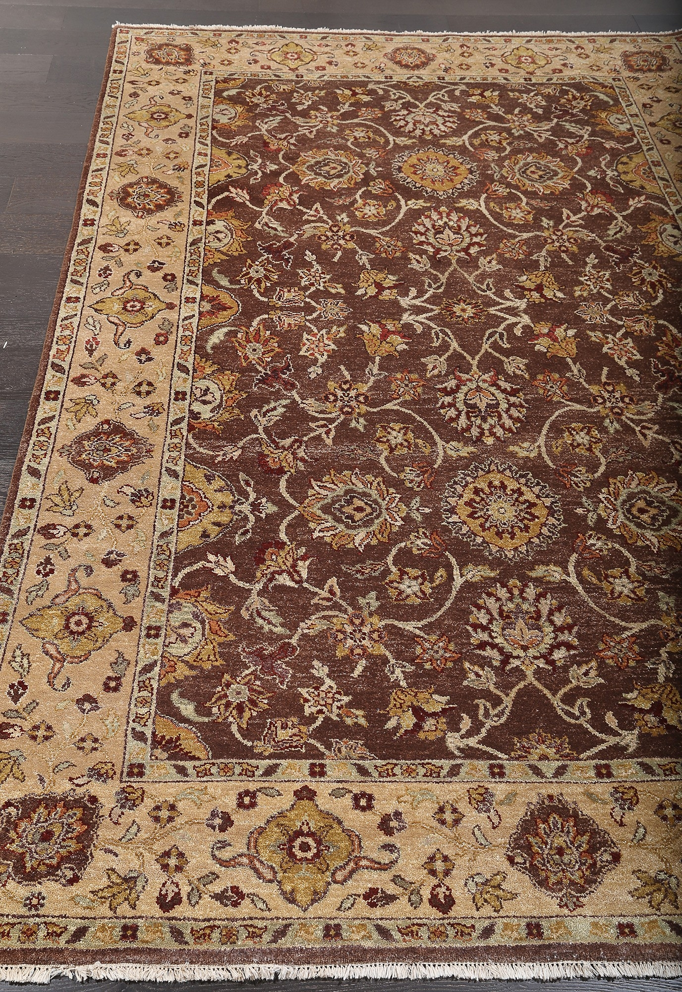 Sultanabad Persian Style Brown Hand Knotted Wool Rug 36252 Inside Persian Style Wool Rugs (View 8 of 15)