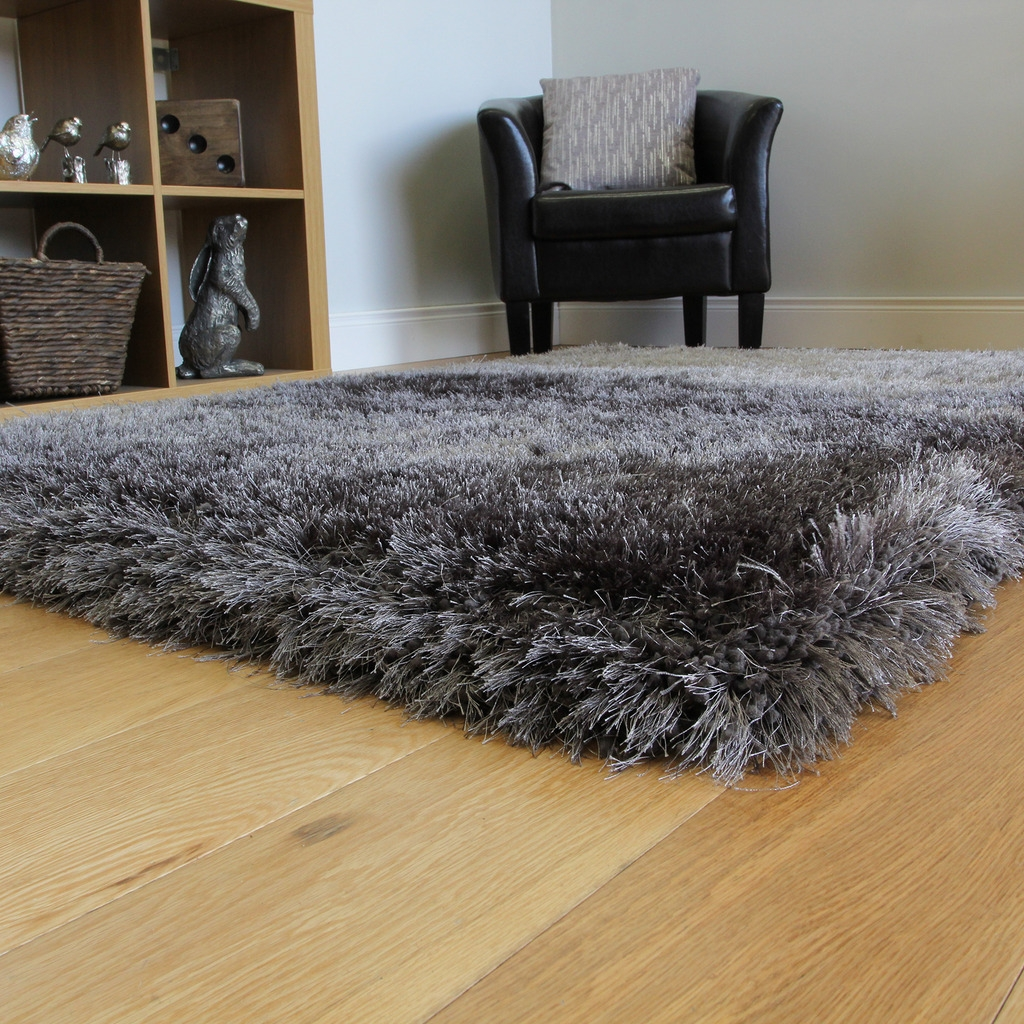 Super Soft Thick Dark Grey Shaggy Rug High End Non Shed 7cm Depth Throughout Deep Shag Pile Carpets (Image 15 of 15)