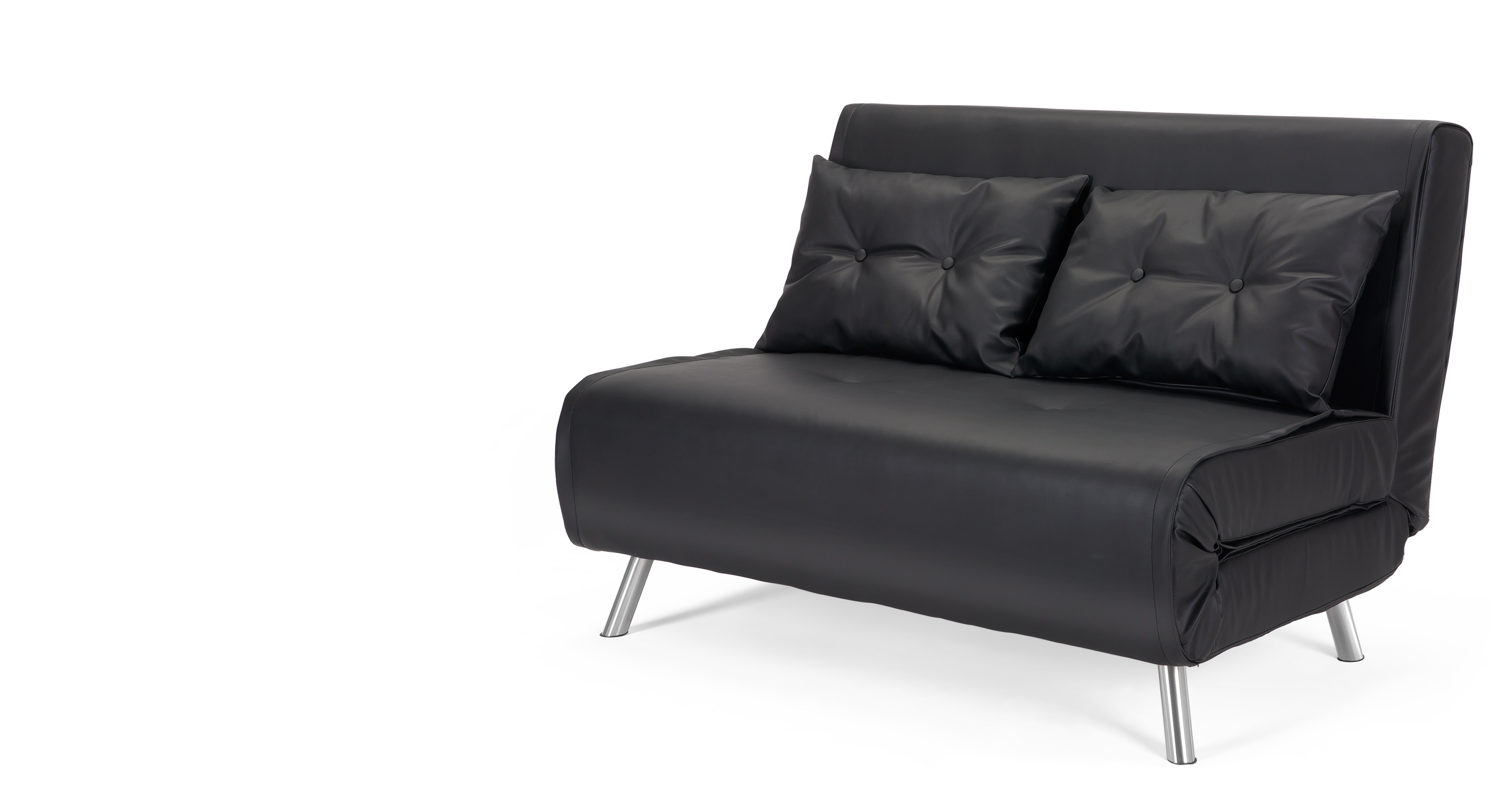 Superb Comfortable Couch Bed Black Leather Upholstery Tufted Within Small Sofas And Chairs (Image 14 of 15)