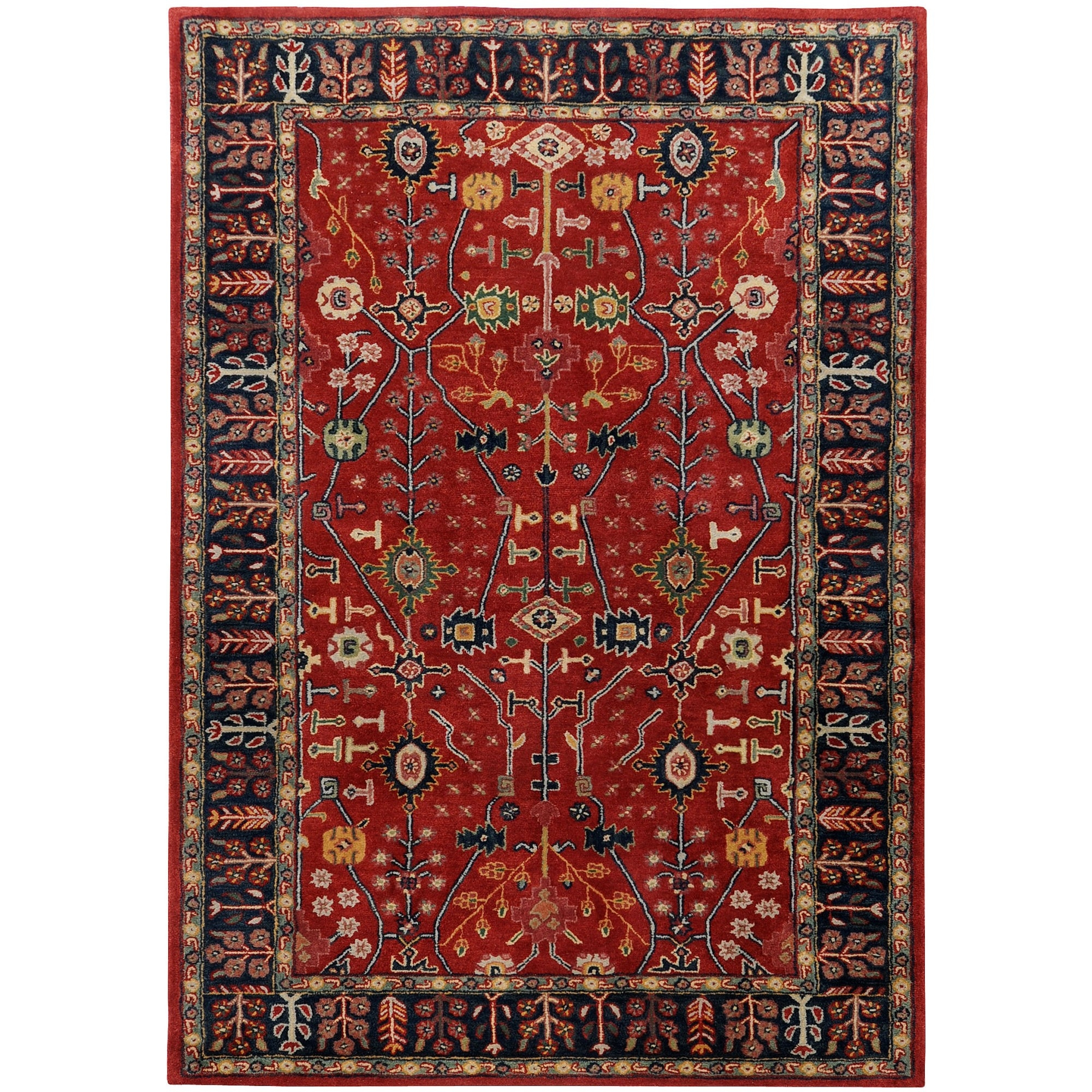 Surya Ancient Treasures Red Navy Oriental Rug A135 Copy Cat Pertaining To Oriental Rugs (Image 14 of 15)