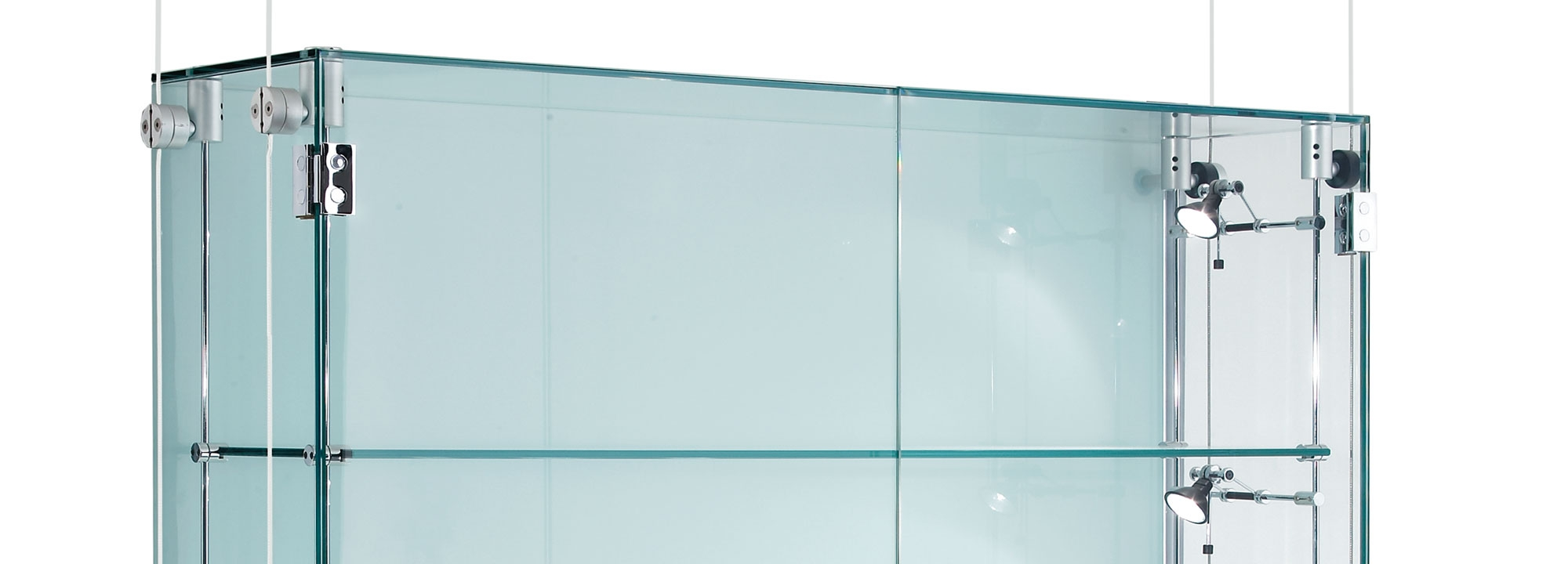 Suspended Glass Display Cabinets Custom Made Shopkit Group Uk Pertaining To Cable Suspended Glass Shelves (Image 11 of 15)