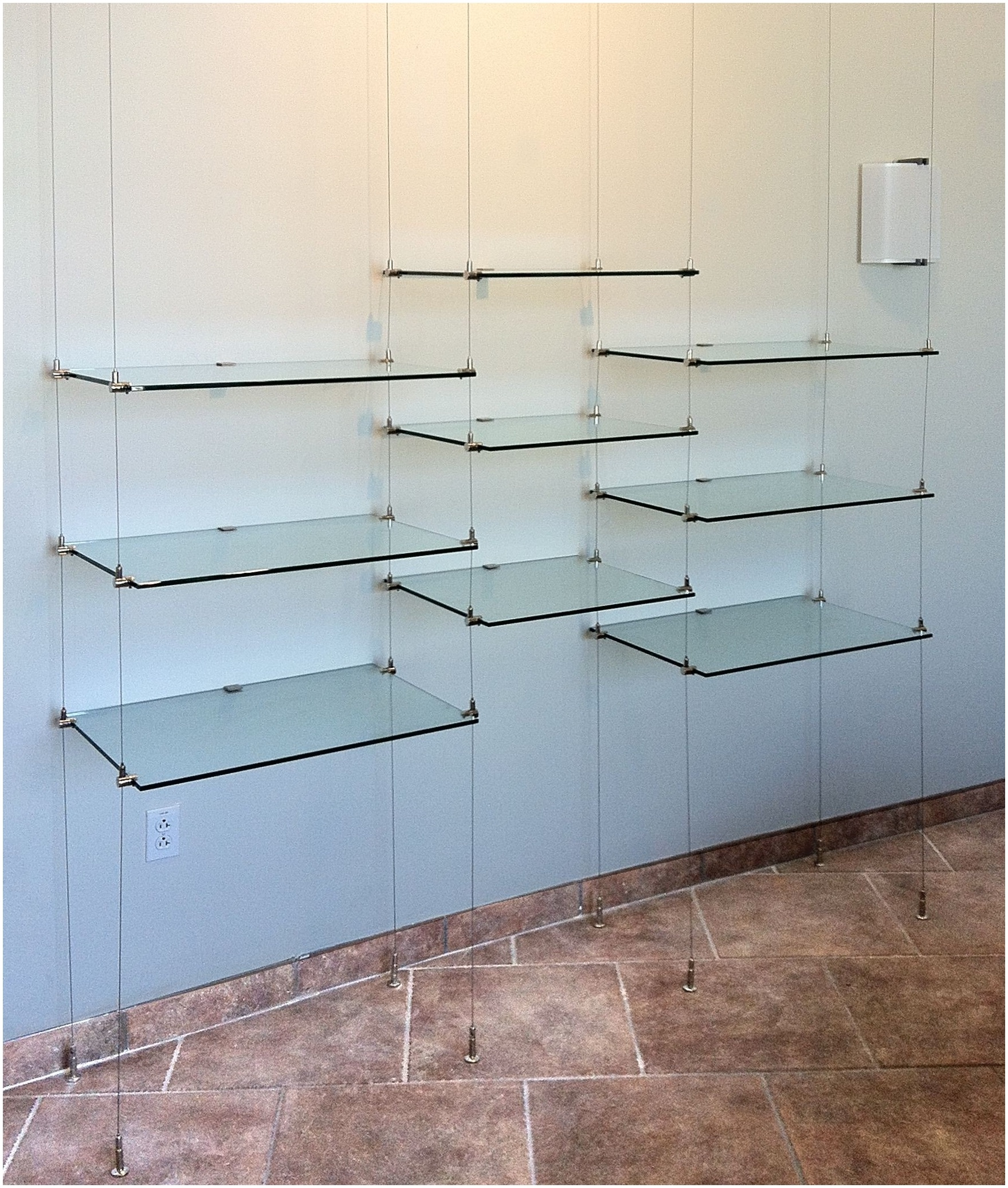 Suspended Glass Shelf 18 In Hanging Glass Shelf Hardware Ceiling Pertaining To Glass Suspension Shelves (Image 14 of 15)