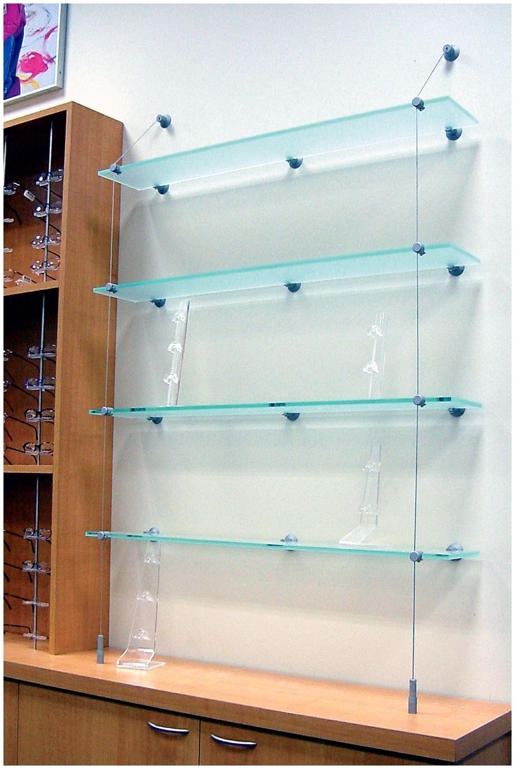 Suspended Glass Shelf Drizzle Shelving System With Anodised With Regard To Suspended Glass Shelving (Image 10 of 15)