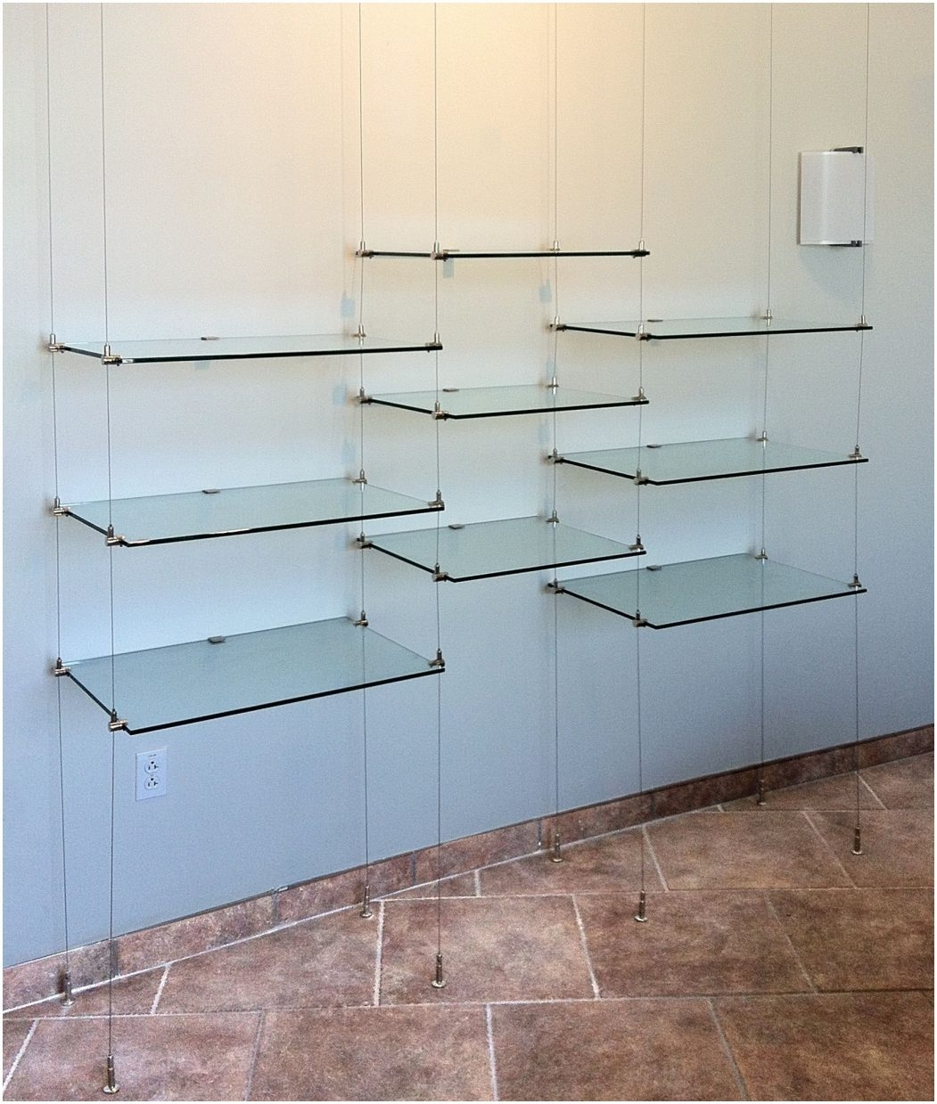 Suspended Glass Shelf Hardware Suspended Cable Shelves For Ventana Within Cable Suspended Glass Shelves (Image 15 of 15)