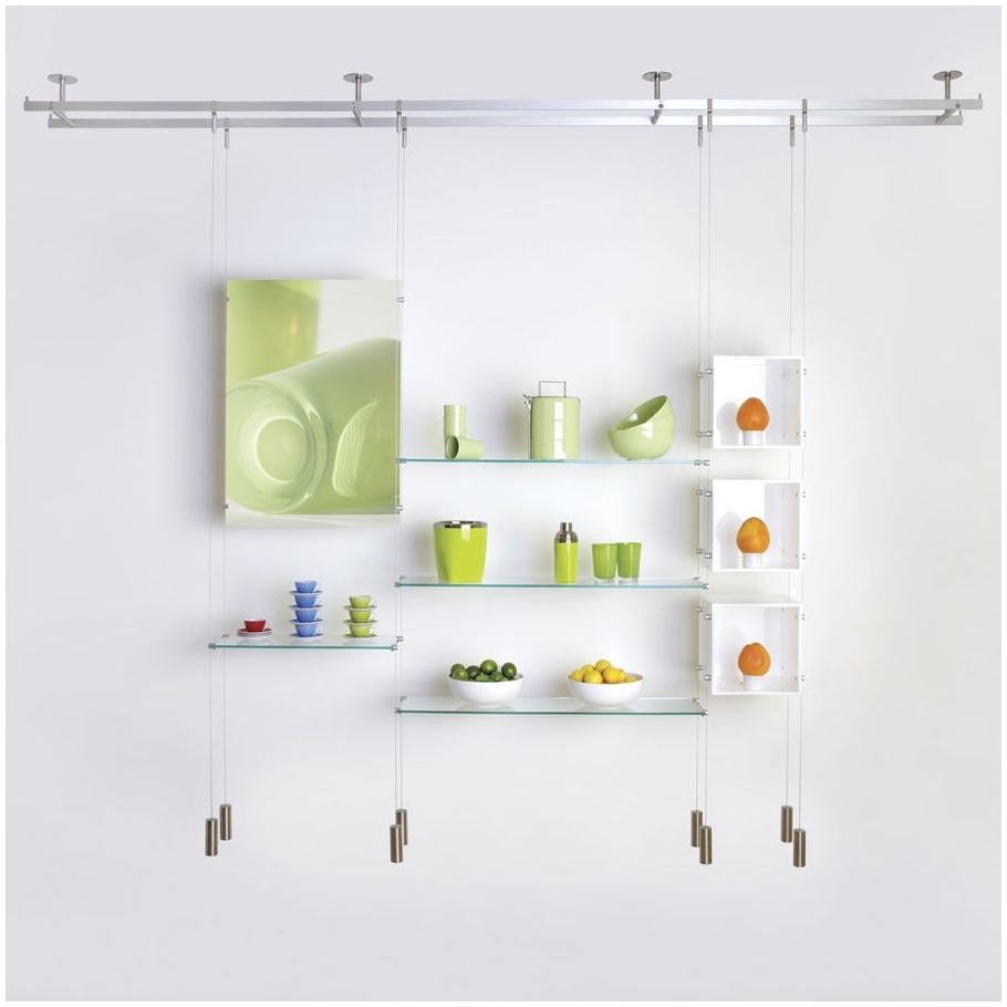 Suspended Glass Shelving Systems Design Modern Shelf Storage And Within Hanging Glass Shelves From Ceiling (Image 14 of 15)