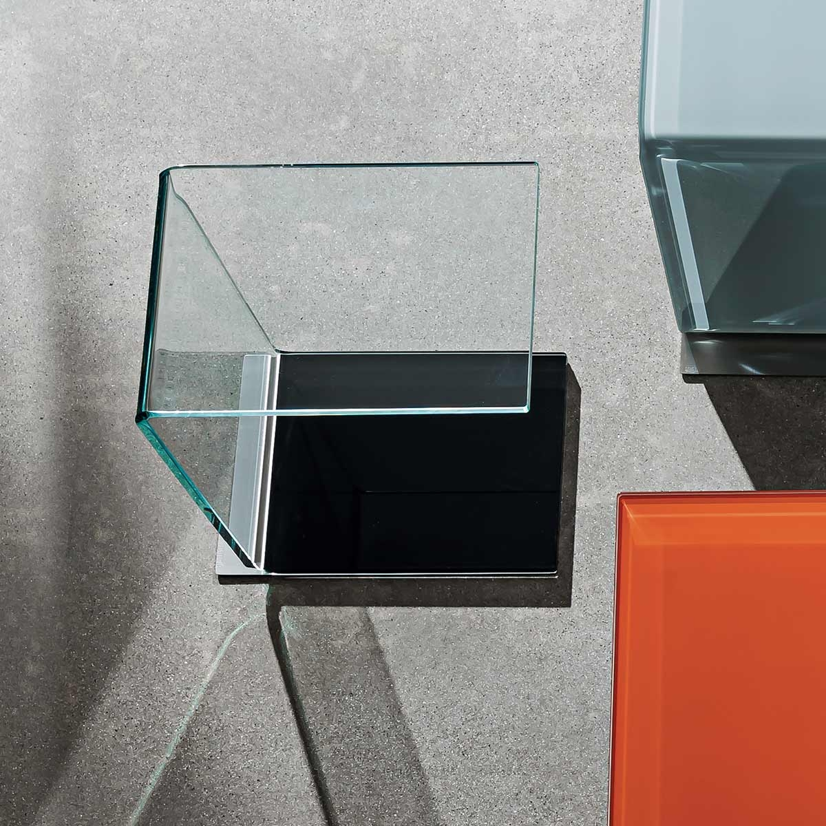 Swan Curved Glass Table Coloured Base Klarity Glass Furniture In Coloured Glass Shelves (Image 13 of 15)