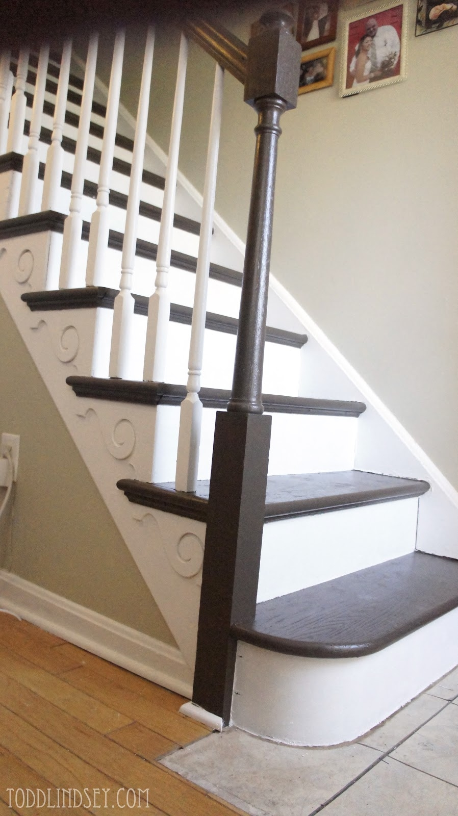 Swiss Chocolate Brown Paint From Valspar On Stair Treads Paint With Regard To Brown Stair Treads (Image 14 of 15)