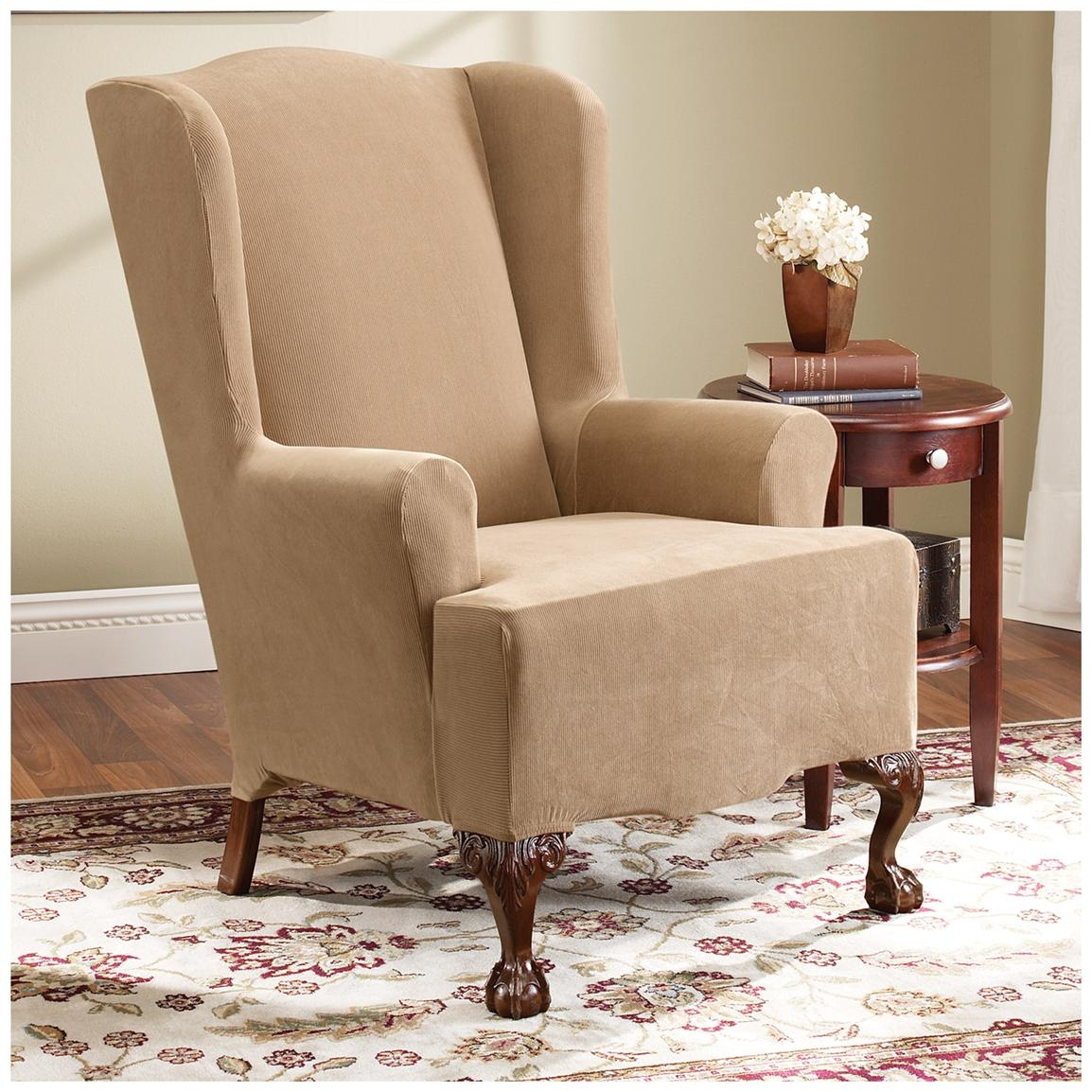 T Cushion Chair Slipcover With Ottoman Home Chair Designs With Sofa And Chair Slipcovers (Image 14 of 15)