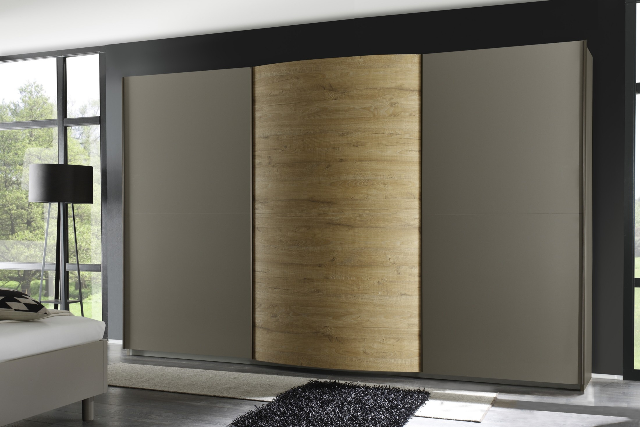 Tambura Curved Sliding 3 Doors Wardrobe Beige Miele Buy Online Inside Curved Wardrobe Doors (Image 8 of 15)