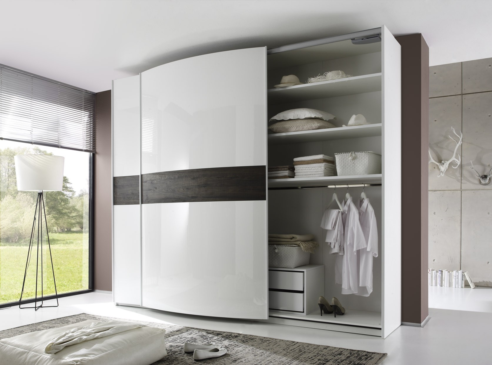 Tambura Curved Sliding Doors Wardrobe White Wenge Buy Online At With Curved Wardrobe Doors (Image 10 of 15)