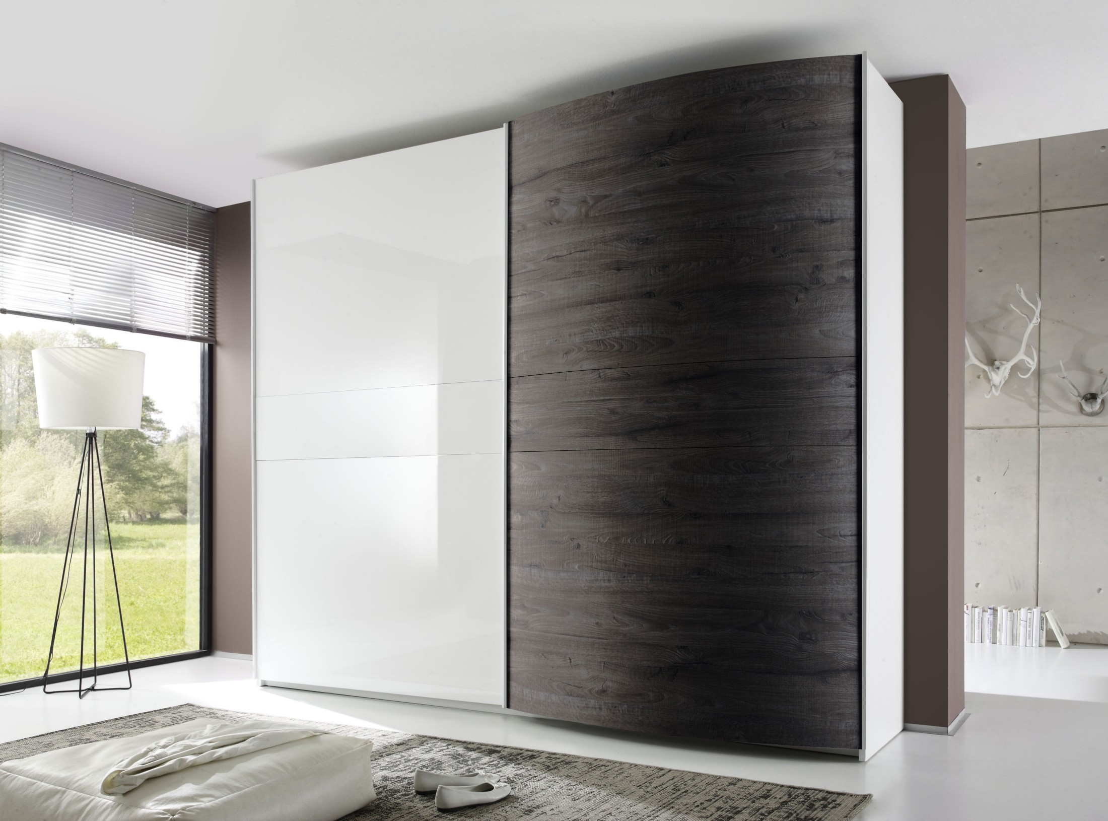 Tambura Curved Sliding Doors Wardrobe White Wenge Buy Online At With Sliding Door Wardrobes (Image 21 of 25)