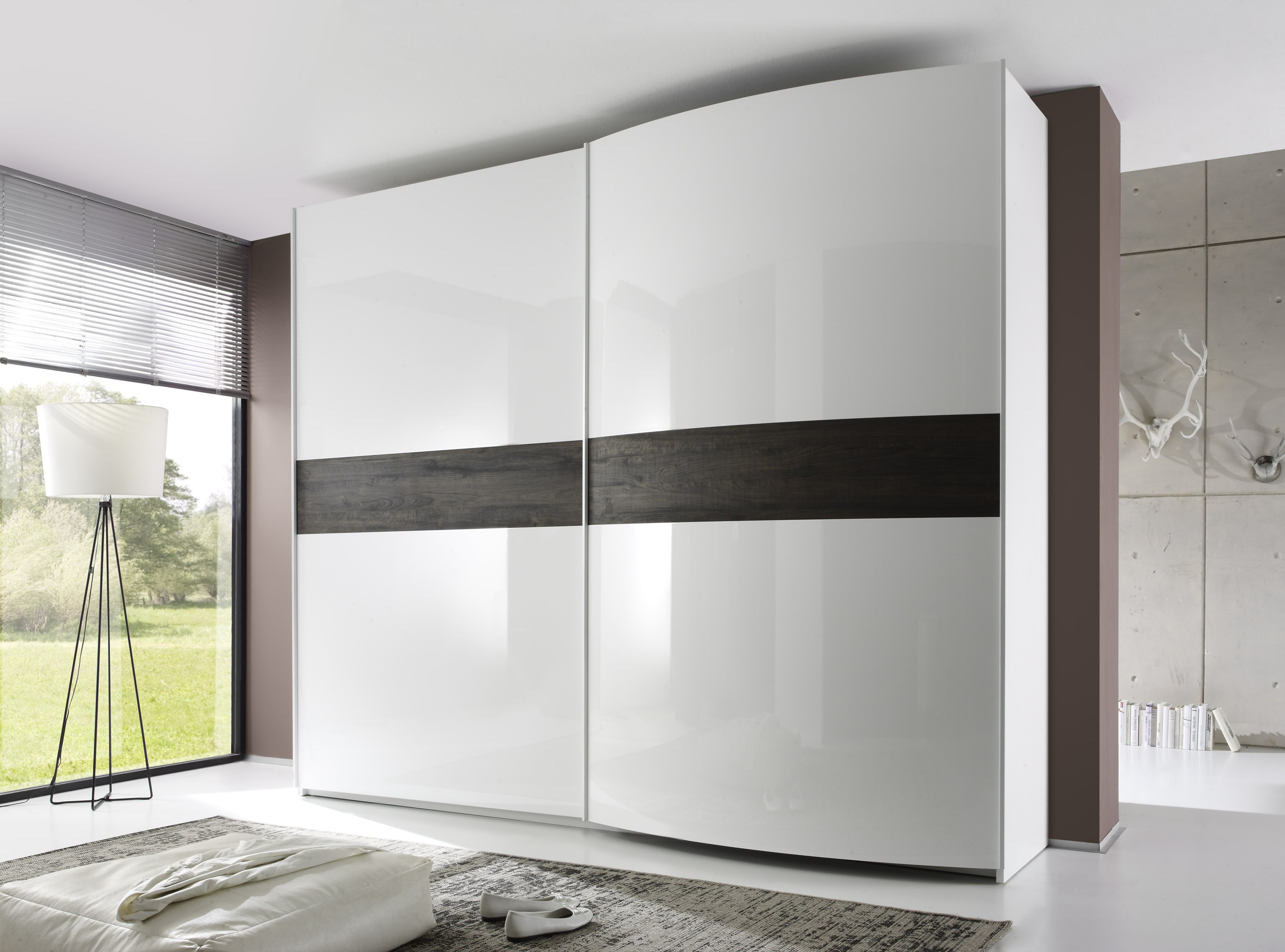 Tambura Curved Sliding Doors Wardrobe White Wenge Inserts Buy Within Cupboard Sliding Doors (View 24 of 25)