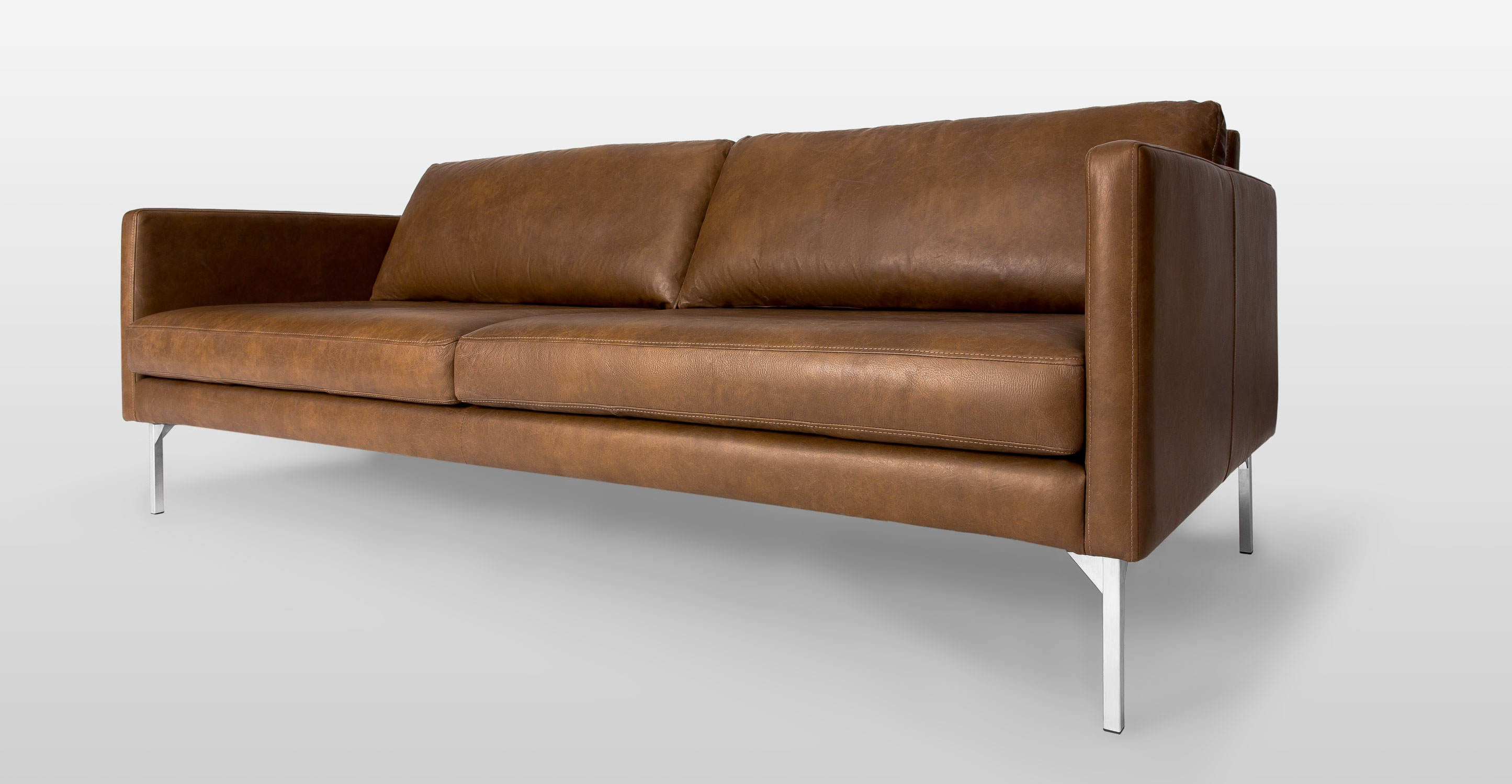 Tan Brown Leather Sofa With Steel Legs Article Echo Contemporary Regarding Oxford Sofas (Image 15 of 15)