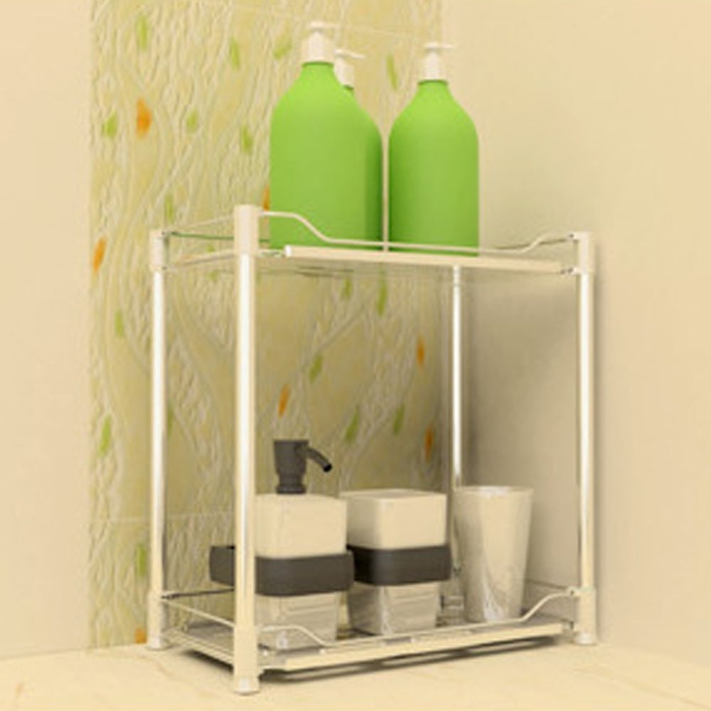 Teerfu Free Standing Kitchen Cabinet Bathroom Corner Storage Throughout Free Standing Glass Shelves (Image 15 of 15)