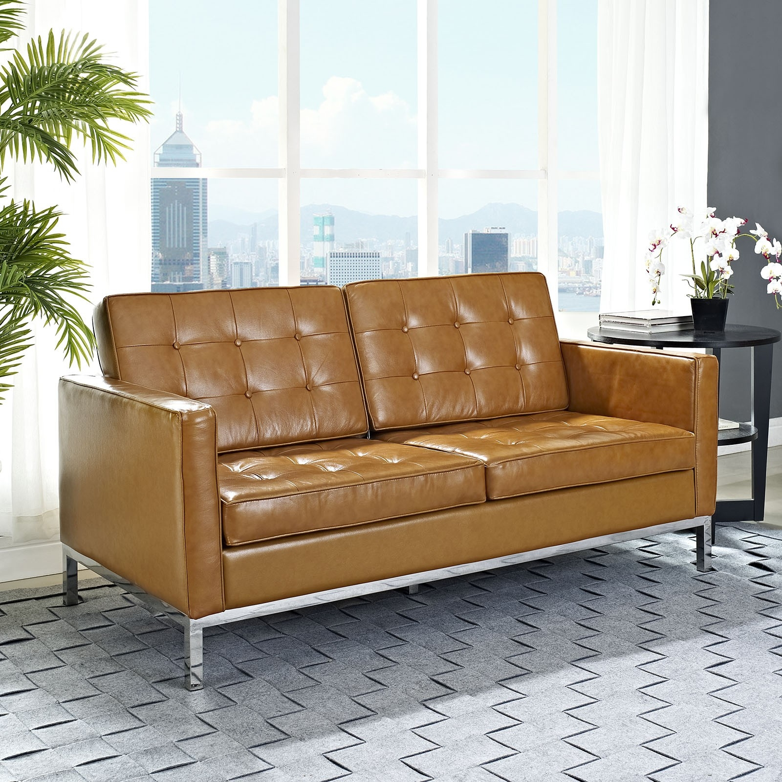 The Florence Statesman Leather Chesterfield Sofa Authentic Within Florence Knoll Leather Sofas (Image 15 of 15)