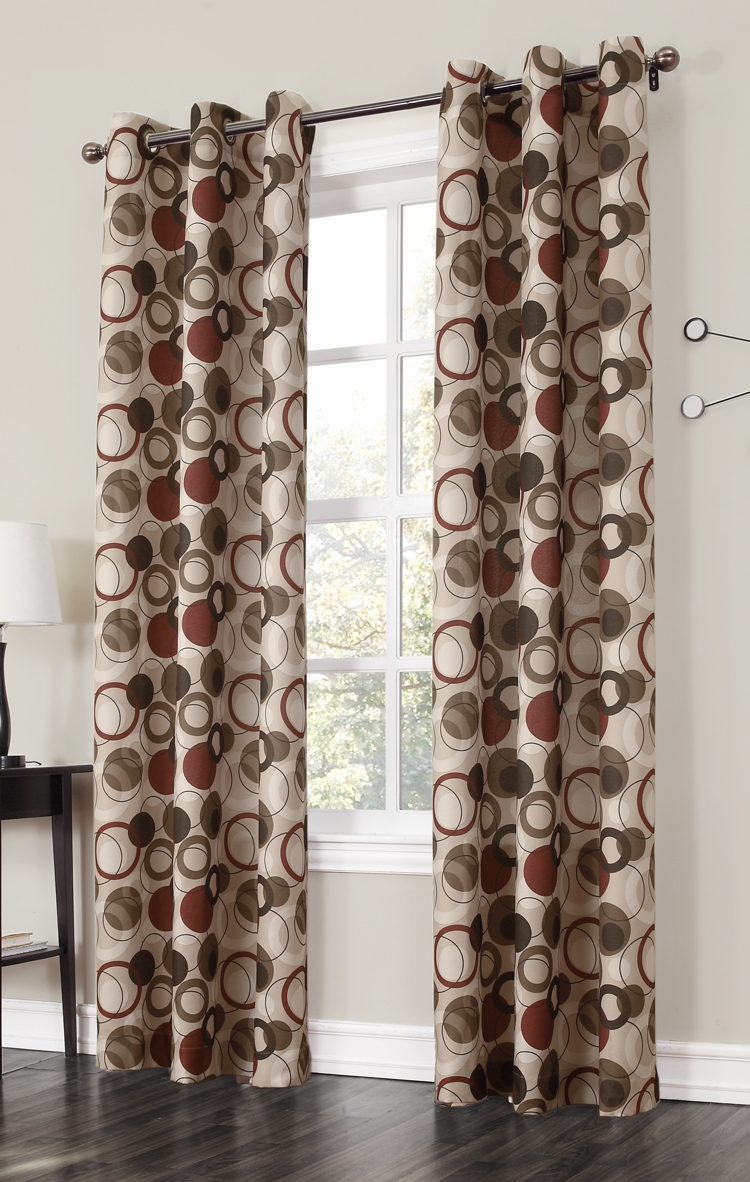 The Jupiter Grommet Curtains Has A Large Scaled Multi Color Modern Throughout Pattern Curtain Panels (Image 23 of 25)