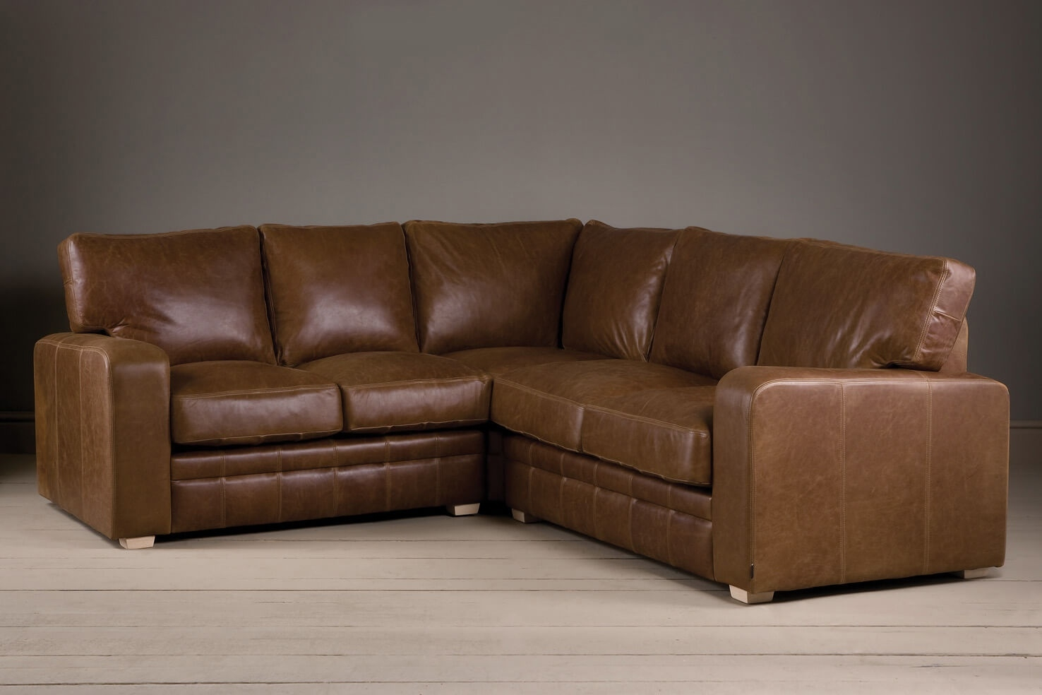 The Square Arm Leather Corner Sofa Indigo Furniture For Corner Sofa Leather (Image 13 of 15)