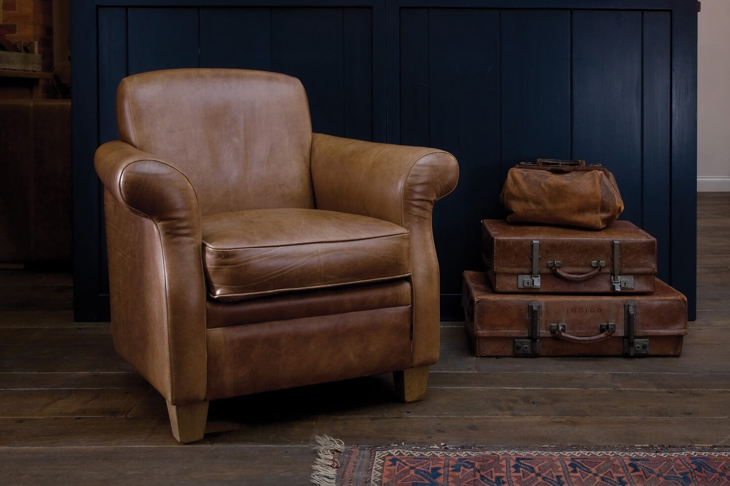 The Vintage Leather Armchair Indigo Furniture Pertaining To Vintage Leather Armchairs (Image 10 of 15)