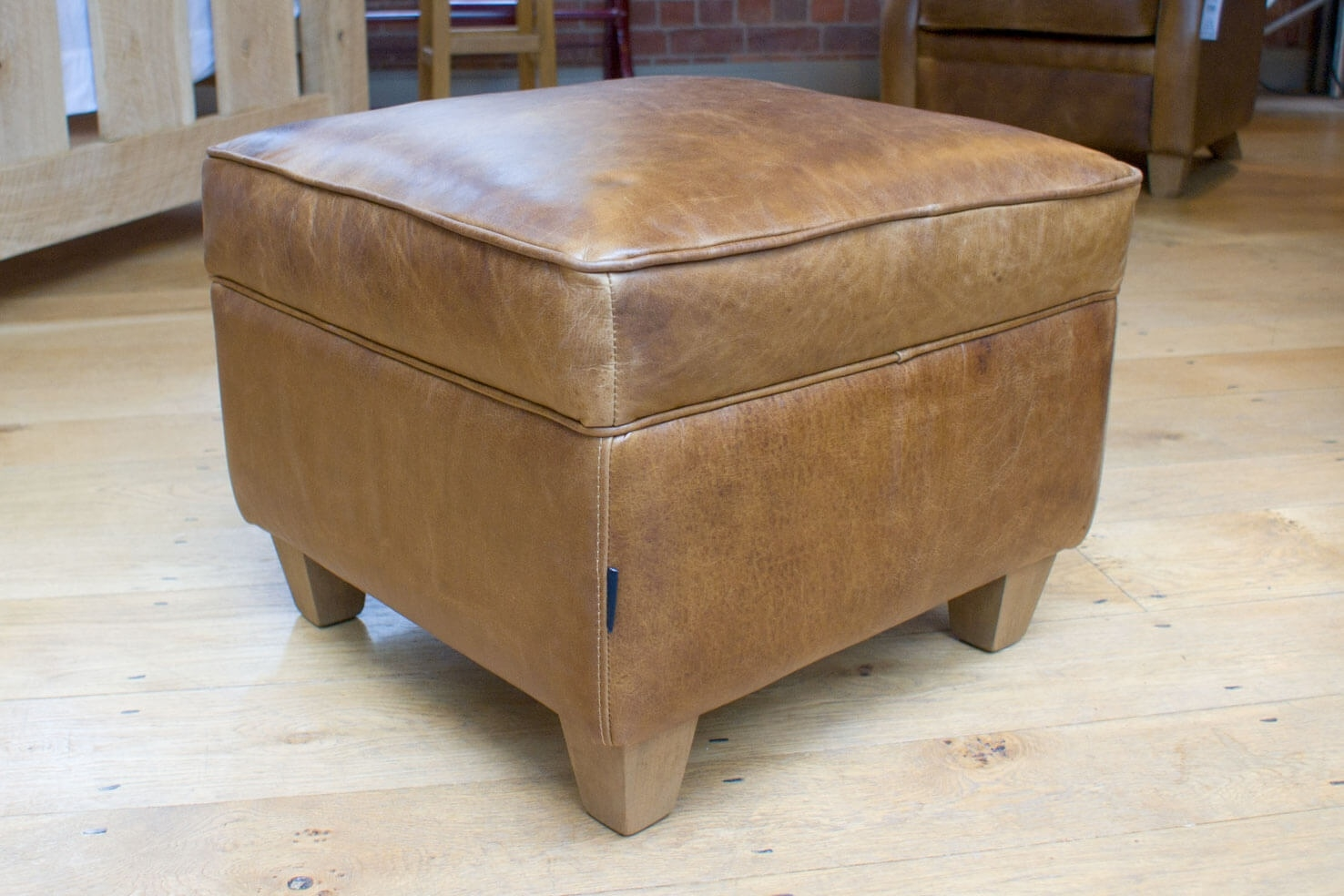 The Vintage Leather Footstool Indigo Furniture Intended For Leather Footstools (Image 12 of 15)