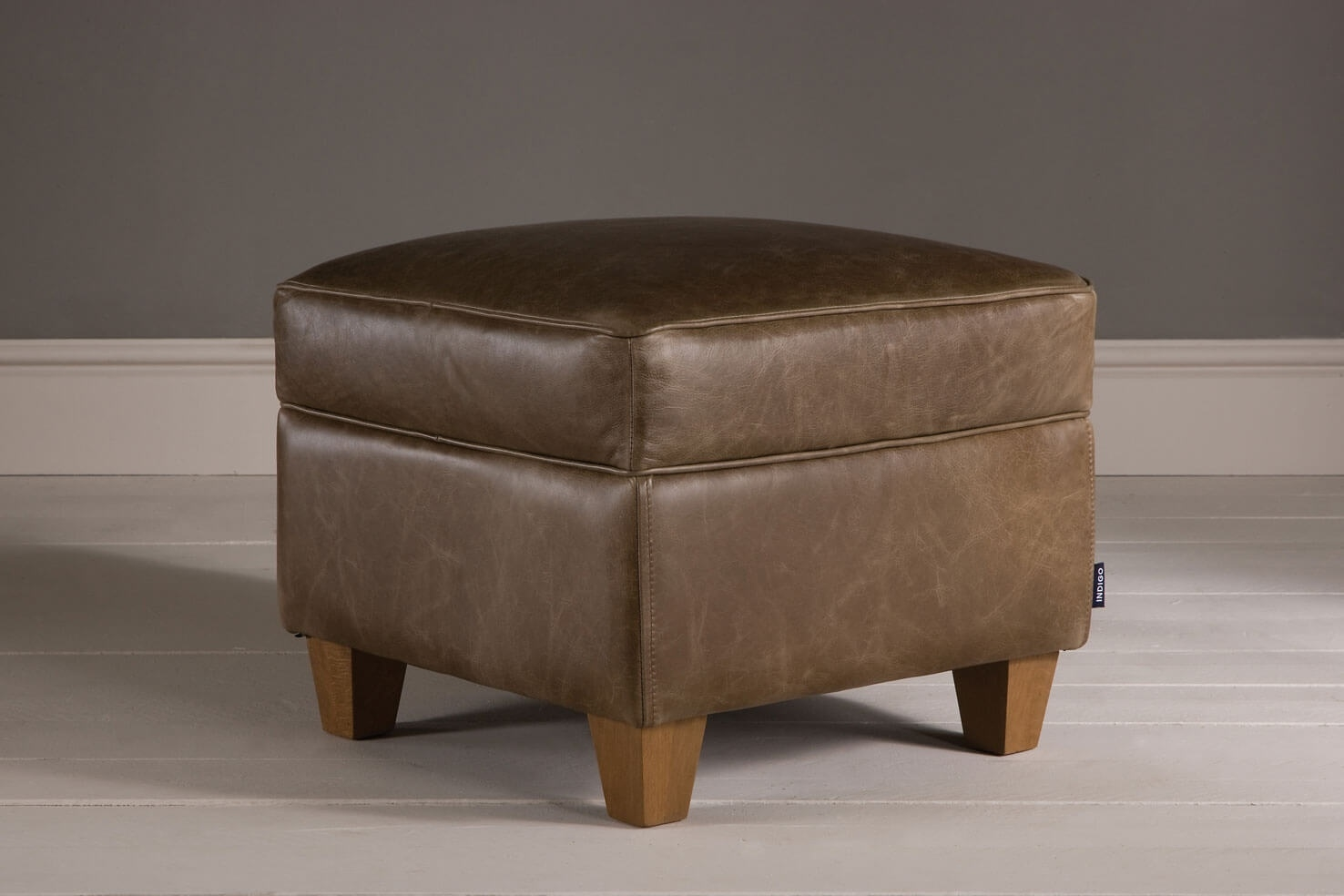 The Vintage Leather Footstool Indigo Furniture With Regard To Leather Footstools (Image 13 of 15)