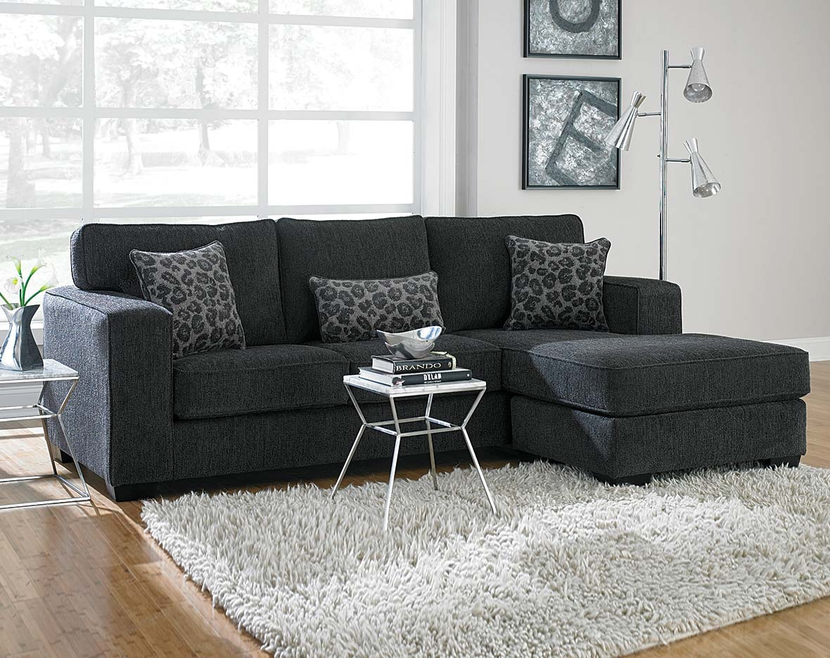 This Dark Gray Sectional Sofa Is Covered In A Soft Chenille And Within Charcoal Grey Sofas (Image 15 of 15)