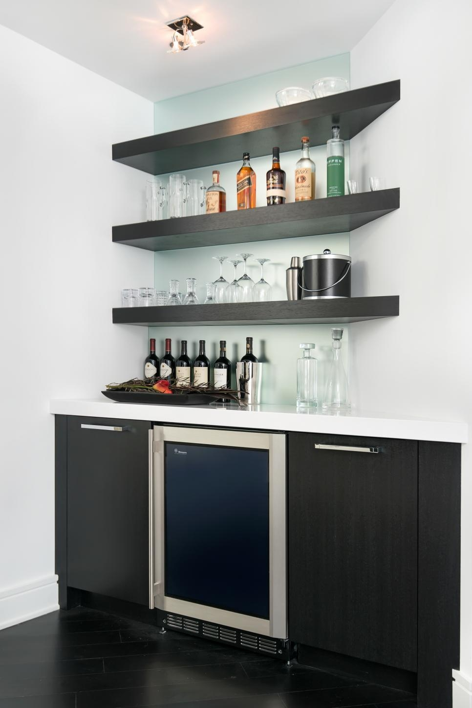 This Modern Wet Bar Features Floating Corner Shelves And A Frosted Inside Floating Glass Shelves For Bar (Image 15 of 15)