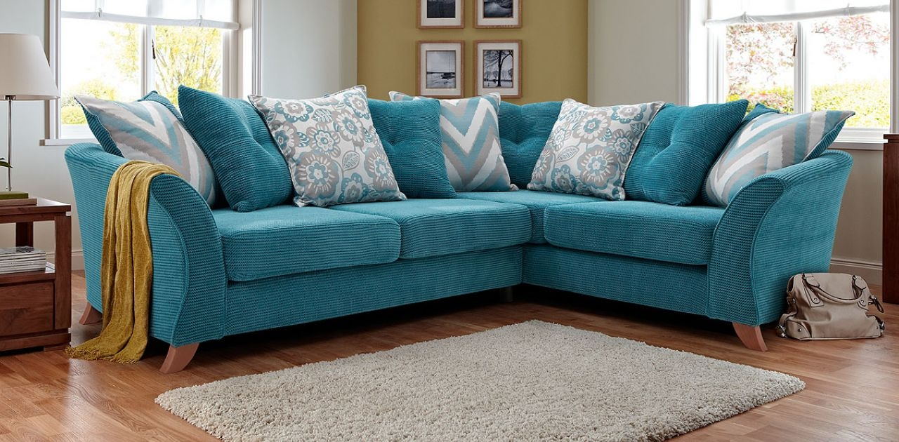 This Striking Colourful Ru Corner Sofa Will Liven Up Any Intended For 3 Seater Sofa And Cuddle Chairs (Image 15 of 15)