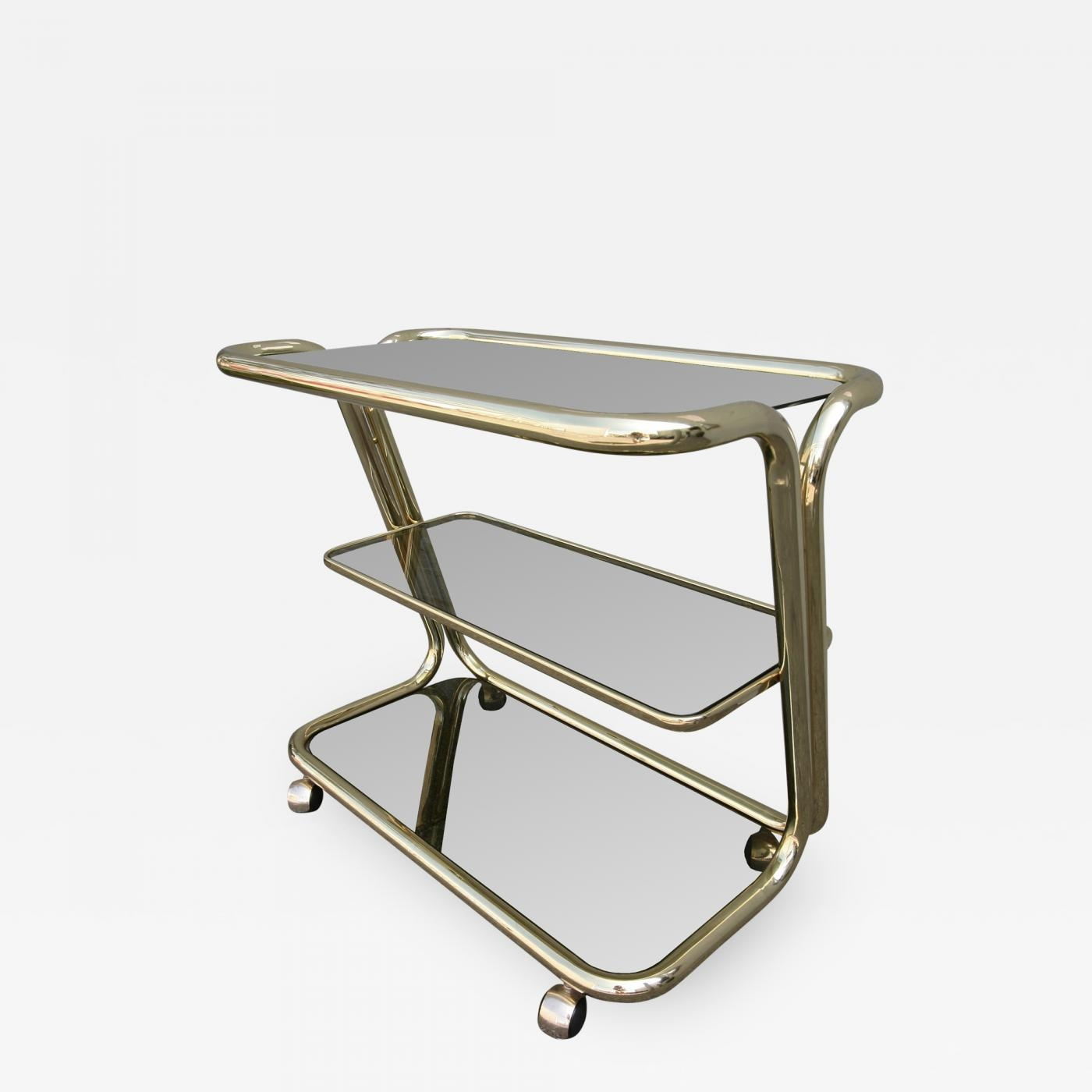 Three Tiered 1970s Brass Bar Cart With Smoked Glass Shelves Intended For Smoked Glass Shelves (Image 13 of 15)