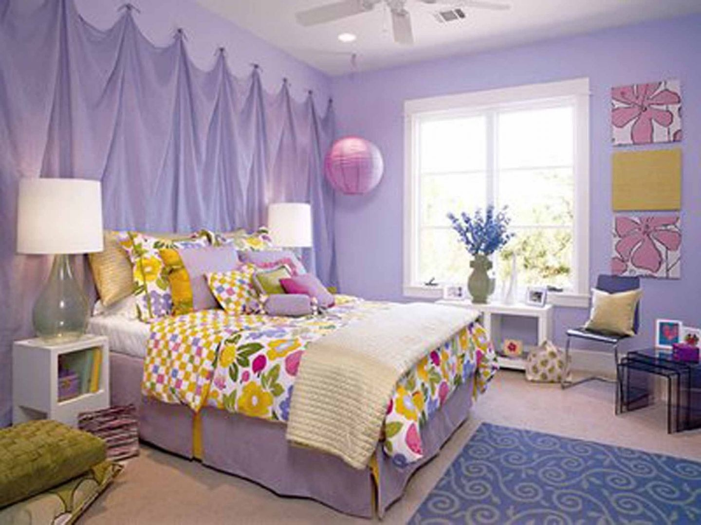 Toddler Room Decorating Ideas Purple Bedcover Feat White Fur Rug In Purple Curtains For Kids Room (Image 25 of 25)