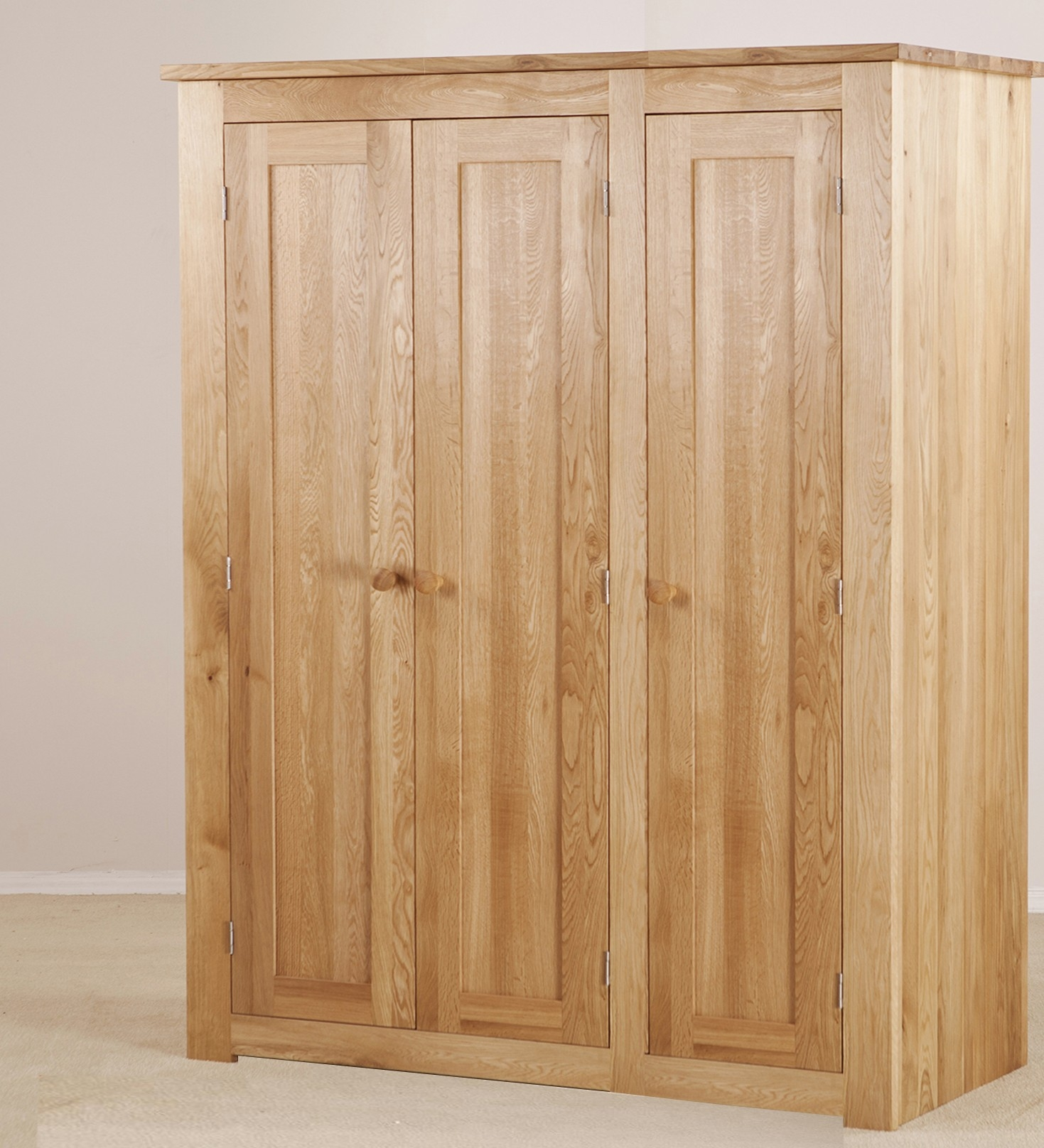 Torino Solid Oak Large 3 Door Wardrobe Furniture4yourhome Inside Solid Wood Fitted Wardrobes (Image 13 of 15)