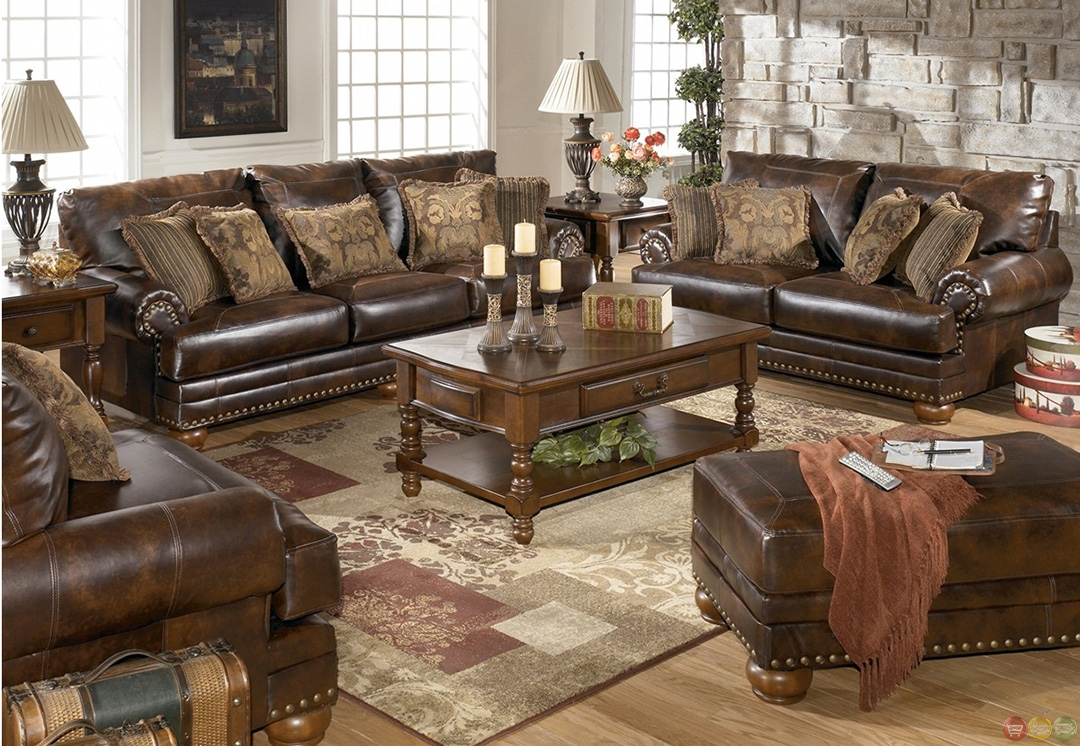Traditional Brown Bonded Leather Sofa Loveseat Living Room Set Intended For Sofa Loveseat And Chairs (Image 15 of 15)