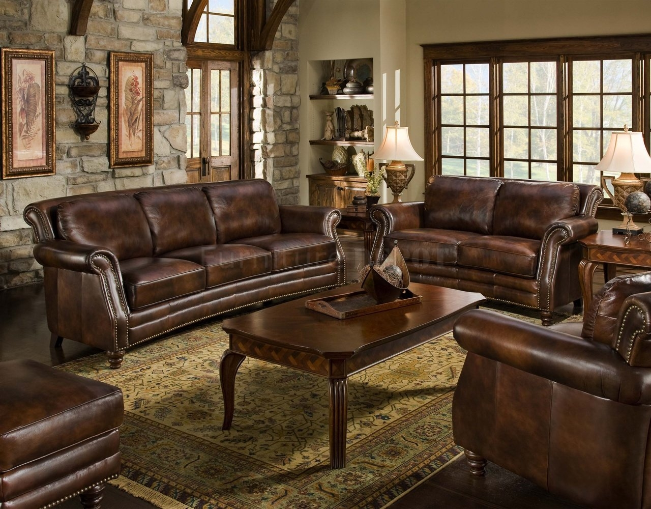 Traditional Leather Sectional Sofa And Brown Sofa All Leather 12 Regarding Traditional Leather Couch (Image 10 of 15)